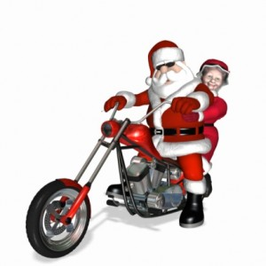 santa and mrs on motorcycle